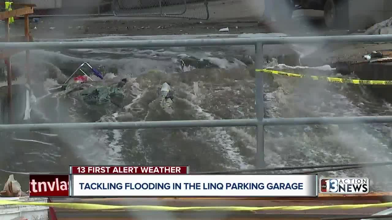 Flooding in The LINQ parking garage