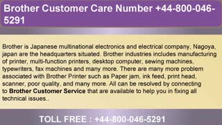 Brother Customer Care Support Number +44-800-046-5291 - Video