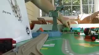 happy with train toy  - Video