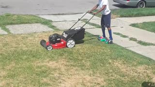 Hoverboard Lawn Mowing