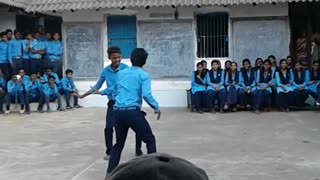 school boys dancing in school  - Video