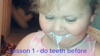 Little Girl Uses an Electric Toothbrush for the First Time
