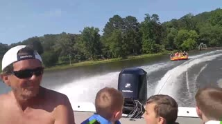 Tube Takes out Paddle Boat