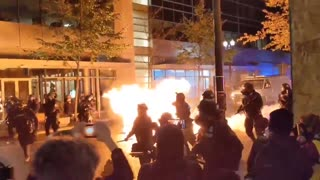 BLM Antifa throw Molotov cocktail at police