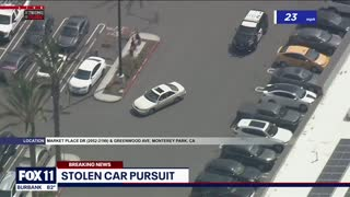 PURSUIT: Police Chase Stolen Vehicle In Los Angeles.