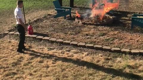 Lighting grass with gas!!