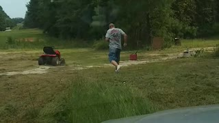 Son Plays Practical Joke On Dad Making Him Jump Off A Lawnmower