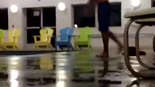 Blue shorts indoor pool big belly flop - Video