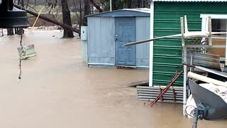 Flood Waters Rise On Mobile Homes