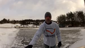 Frozen driveway allows for natural skate rink - Video