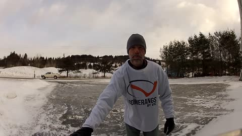 Frozen driveway allows for natural skate rink