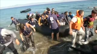 Emotional sea rescue of migrants off Greek island - Video
