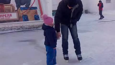 With dad at the rink