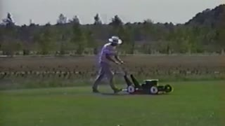 Lawnmower Flys Away Into The Sky - Video
