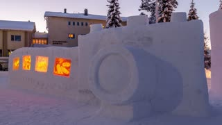 Time lapse: Sculptures created from 30 tons of snow - Video