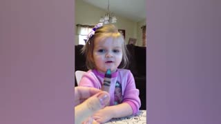 Cute Baby Discovers New Name For Brown Crayon - Video
