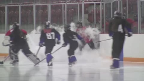 Hockey team slips on dry ice