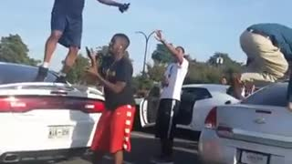 Collab copyright protection vibes - guy falls off car hood - Video