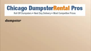 roll off dumpster rental chicago - Video