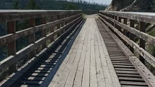 Trestle Bridge in between Mountains