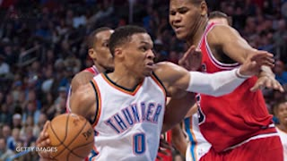 Russell Westbrook Sends Jimmy Butler FLYING to the Stands with Chase-Down Block - Video