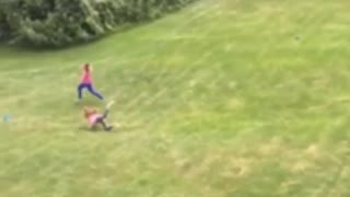 Collab copyright protection - grass kids running playing fall fail - Video