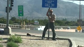 Homeless Man Pole Dance - Video