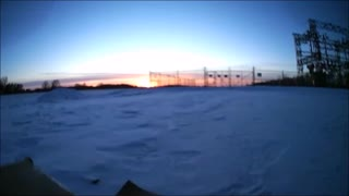 Jan 29th Sunset and Nearly Full Moon From A Drone View  - Video