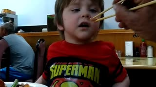 Octopus boy makes funny face  - Video