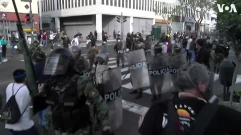 Protesters Demonstrate Against President's Impeachment in Peru