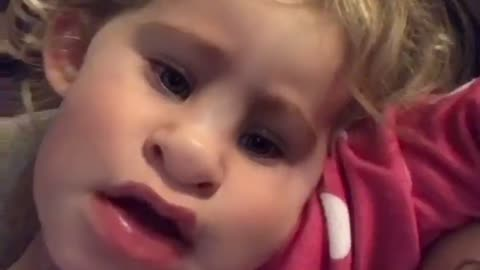 Toddler finds a funny Snapchat filter