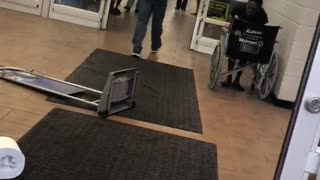 Angry Customer Destroys Store Entryway