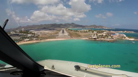Cockpit View Of Touchdown At Famous St. Maarten Airport