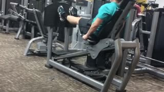 Collab copyright protection - man jumps on leg press
