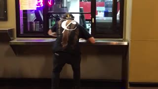 Guy steals entire pack of gatorade from pizza window