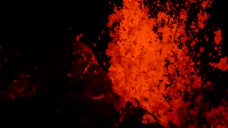 Hot Lava Erupts from Volcano