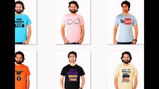 Printed Blue Colour Casual T Shirts - Video