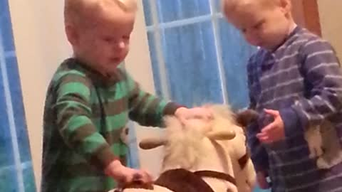 Twin Boys Get A Rocking Horse