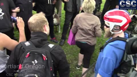 AntiFa Assaults Then Laughs At Elderly Woman At Portland Pro Trump FreeSpeechPDX Rally
