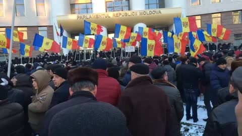 Moldova Parliament Protest Jan 2016