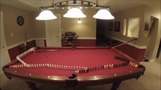 Awesome billiards trick shot using Dominoes - Video