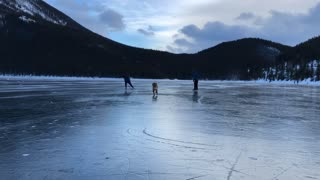 Dog joins owners for a windy skate on majestic frozen lake