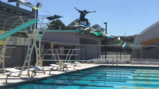 Collab copyright protection - guy skateboards off diving board poo - Video