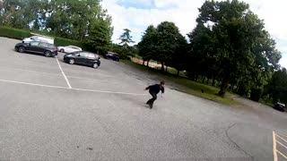 Guy Attempts Steep Ramp on Roller Blades
