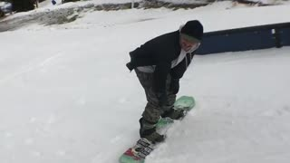 Snowboard turn face goes into rail - Video