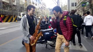 Amazing Saxophone Street Musician Collaboration - Video