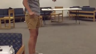 Guy grey shirt doing flip and glasses fall off in slo mo  - Video