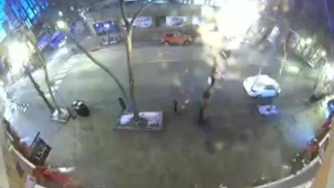Surveillance video catches RV that exploded broadcasting warning