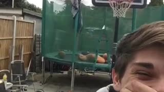 Collab copyright protection - grey hoodie trick shot ball hits boy - Video
