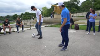 Rio Ferdinand takes on freestyler Sean Garnier in nutmeg challenge